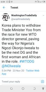 WTO, South Korea, Withdraw Candidate, Okonjo-Iweala, DG