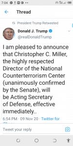 Donald Trump, Terminates, US Defense Secretary, Mark Esper, Twitter